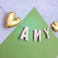 Load image into Gallery viewer, Metallic heart name banner | Nursery name bunting