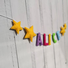 Load image into Gallery viewer, Nursery Double Star Name Banner | Customised nursery bunting