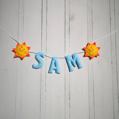 Nursery name banner, Happy Sunshine custom banner