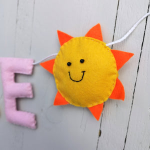 Happy sunshine and cloud nursery name banner