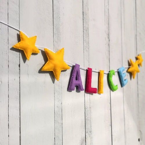 Nursery Double Star Name Banner | Customised nursery bunting