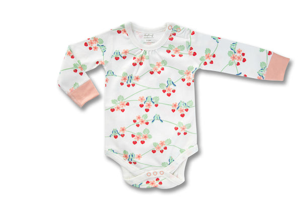 "SAPLING Baby Long Sleeve Onesie - ""Blue Birds"""