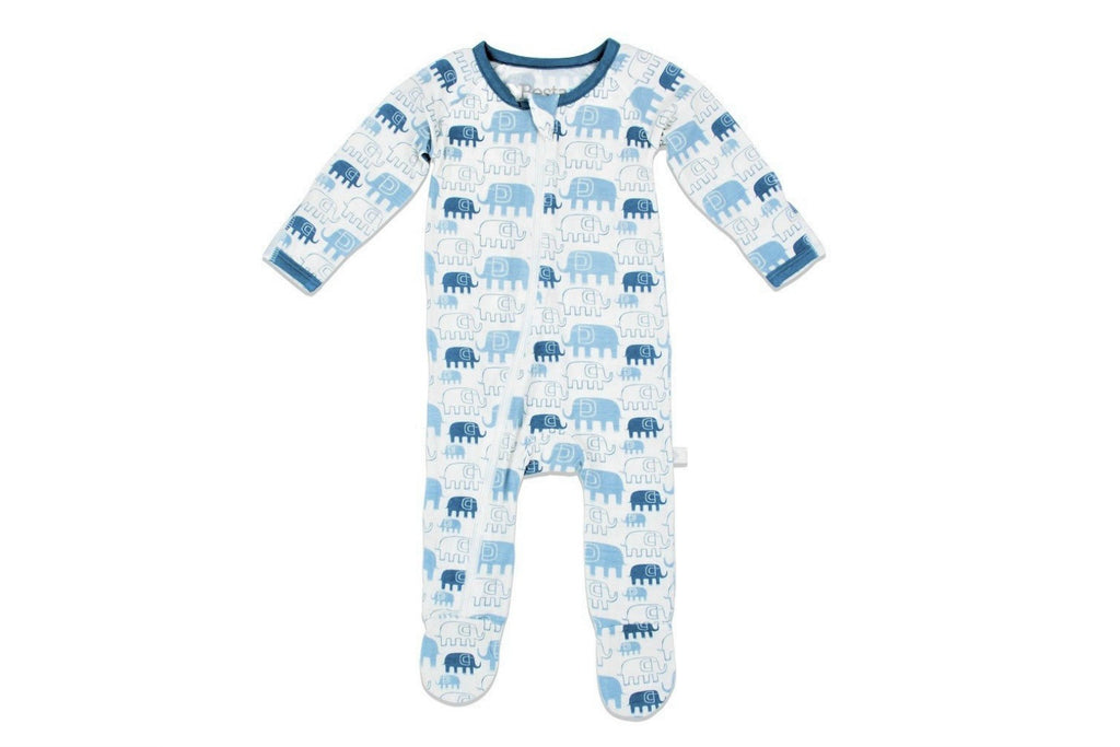"BESTAROO Baby Footie - ""Blue Elephants"""