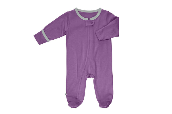 "BABYSOY Baby Zipper Footie - ""Eggplant + Thunder"""