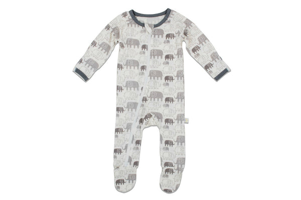"BESTAROO Baby Footie - ""Grey Elephants"""