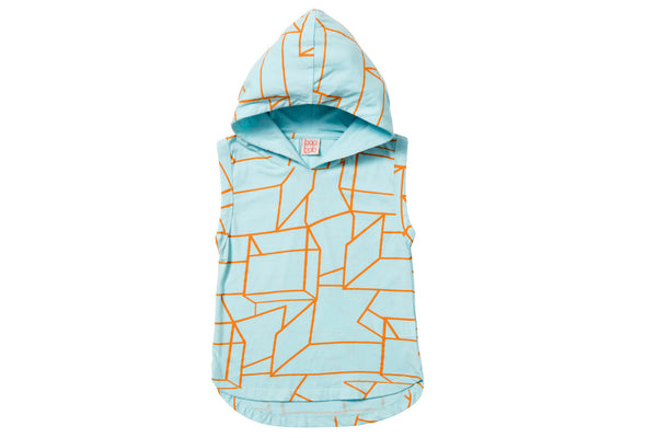 "BAOBAB Boy Sleeveless Hoodie - ""Blue Geo"""