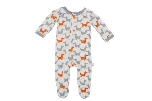 "BESTAROO Baby Footie - ""Orange Giraffes"""