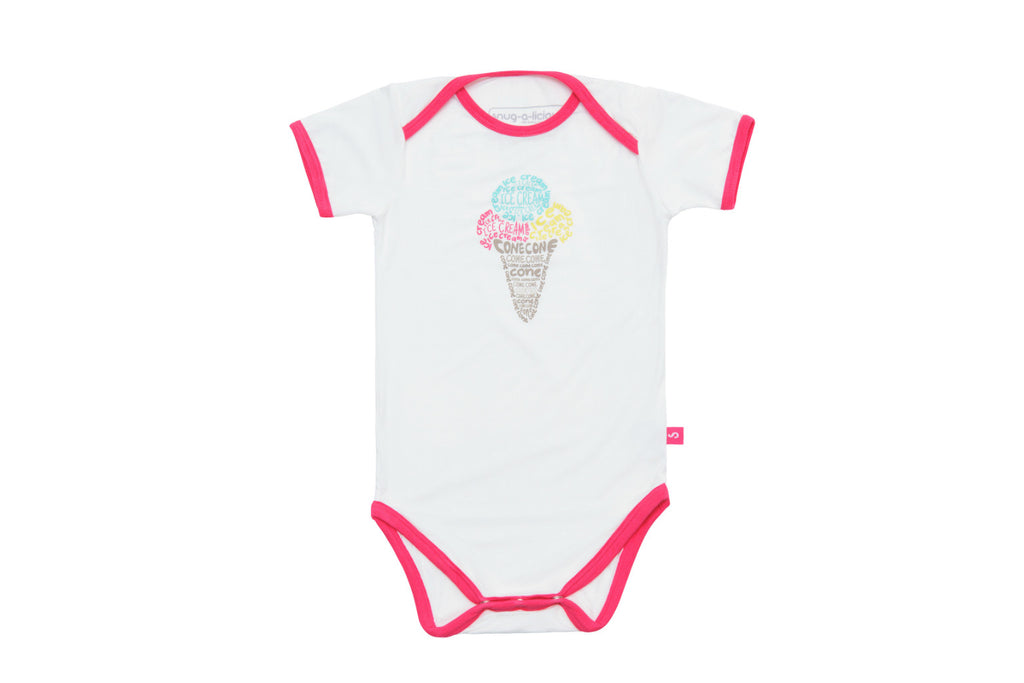 "SNUGALICIOUS Baby Short Sleeve Onesie - ""Ice Cream Cone"""