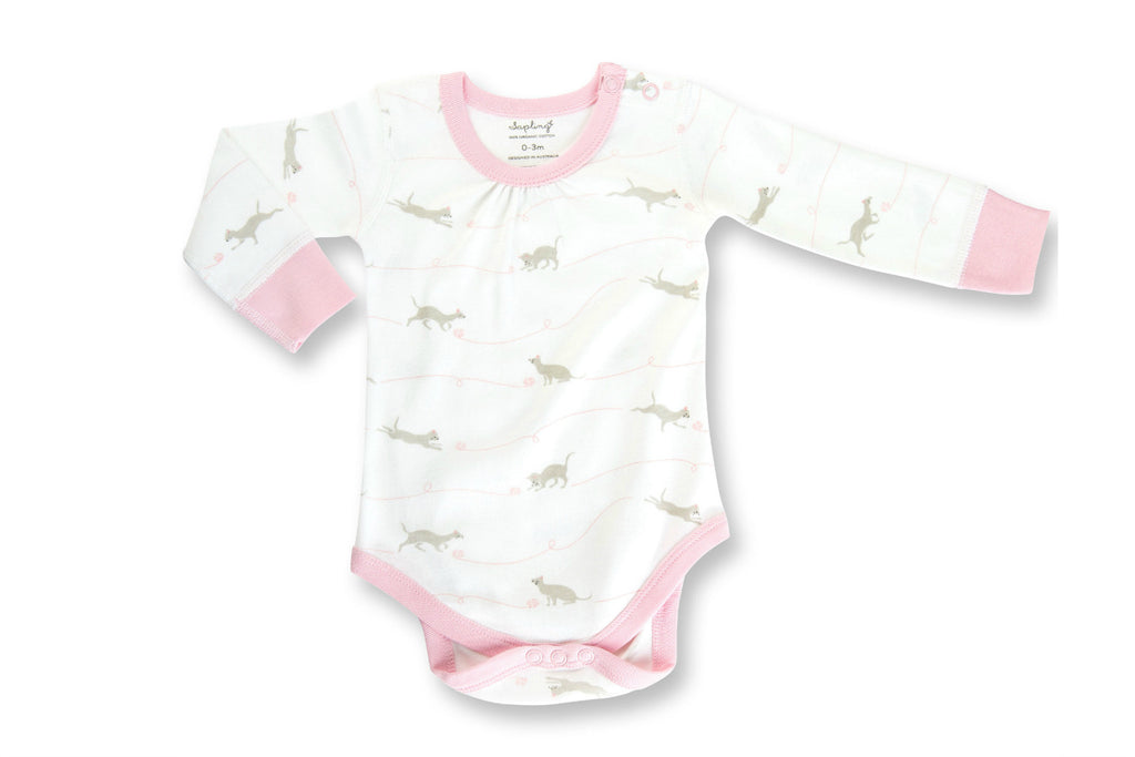 "SAPLING Baby Long Sleeve Onesie - ""Kitten"""