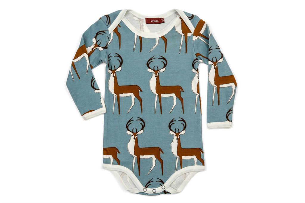 "MILKBARN Baby Long Sleeve Onesie - ""Blue Buck"""