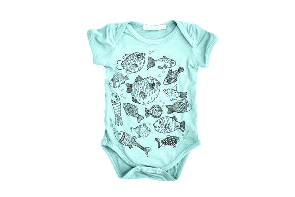 "DOODLEBUG Baby Short Sleeve Onesie - ""Mint Fish"""