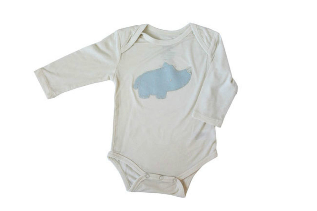 "SILKBERRY Baby Long Sleeve Onesie - ""Rhino"""