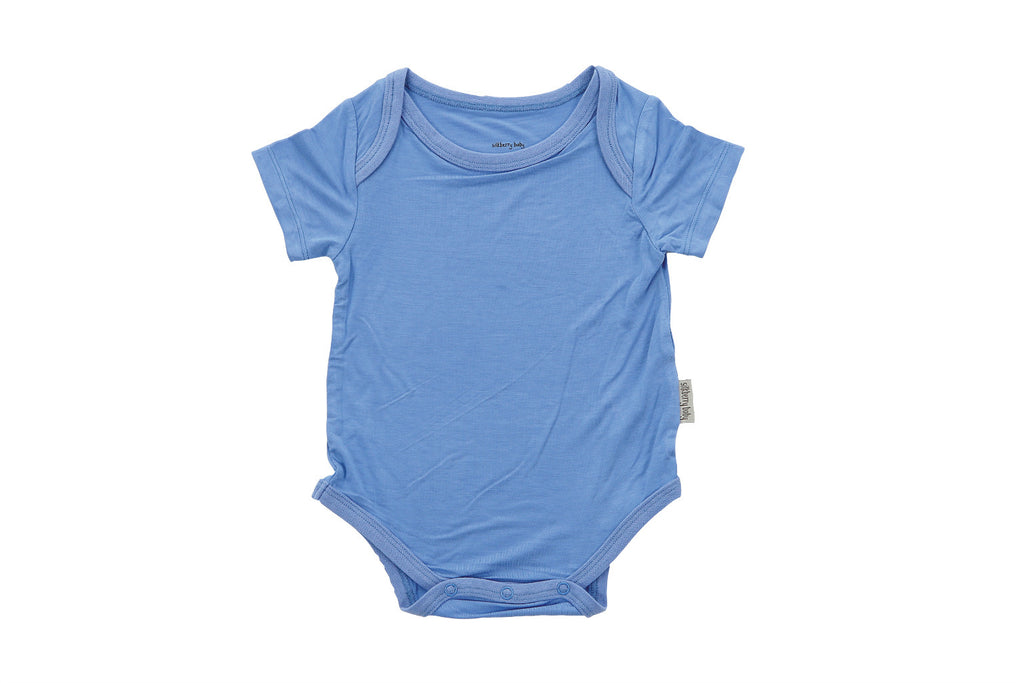 "SILKBERRY Baby Short Sleeve Onesie - ""Shark Blue"""