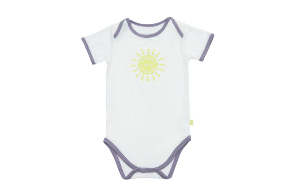 "SNUGALICIOUS Baby Short Sleeve Onesie - ""Sunshine on a Cloudy Day"""