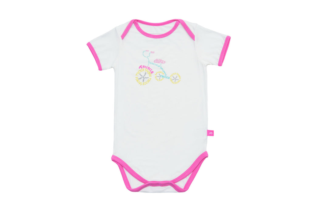 "SNUGALICIOUS Baby Short Sleeve Onesie - ""Tricycle"""