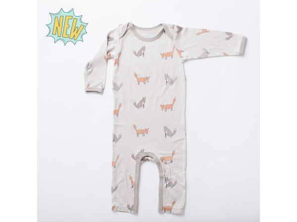 "BESTAROO Baby Coverall - ""Grey-Orange Foxes"""