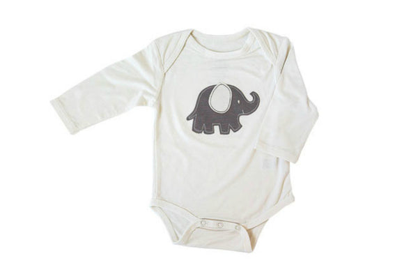 "SILKBERRY Baby Long Sleeve Onesie - ""Elephant"""