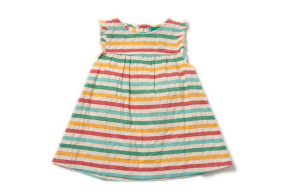 "LITTLE GREEN RADICALS Girl Frill Dress - ""Beach Hut"""