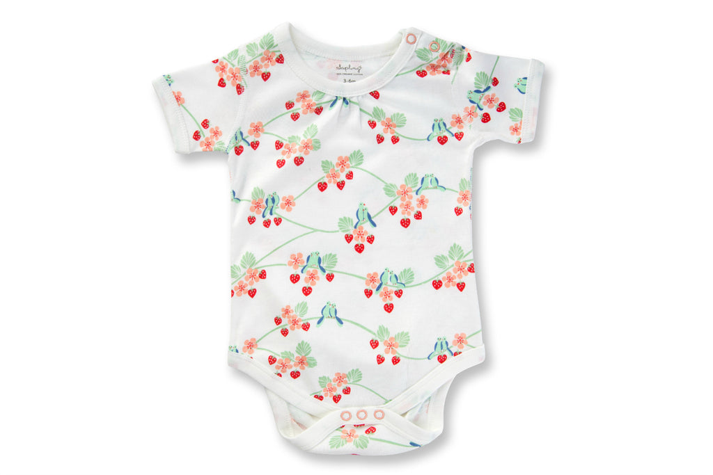 "SAPLING Baby Short Sleeve Onesie - ""Blue Birds"""