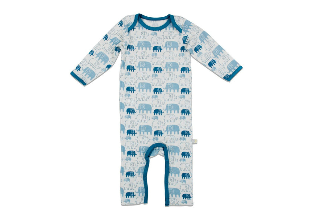 "BESTAROO Baby Coverall - ""Blue Elephants"""