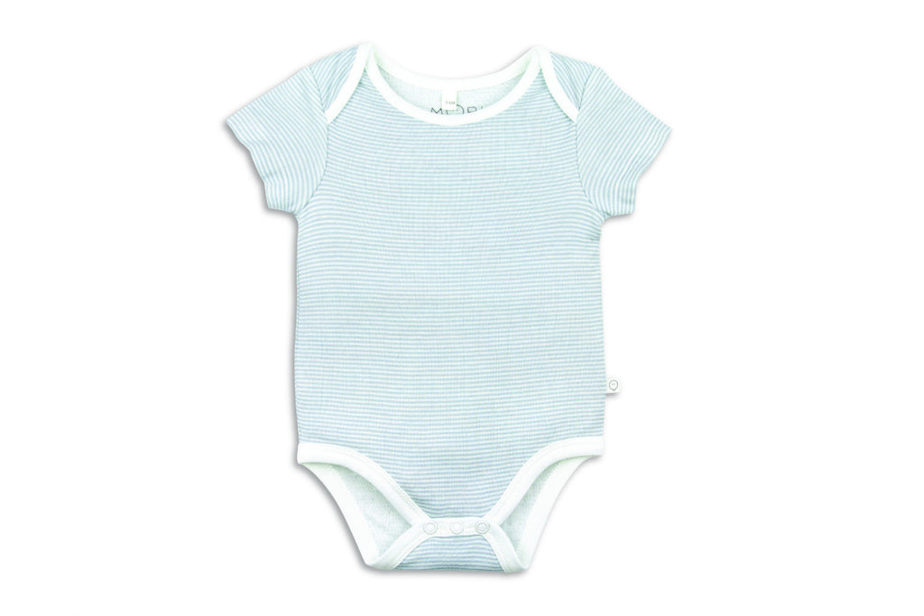 "MORI Baby Short Sleeve Onesie - ""Blue Stripe"""