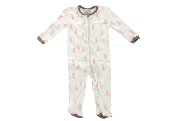 "SILKBERRY Baby Footie - ""Blush Bunny"""