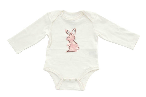 "SILKBERRY Baby Long Sleeve Onesie - ""Blush Dot Bunny"""