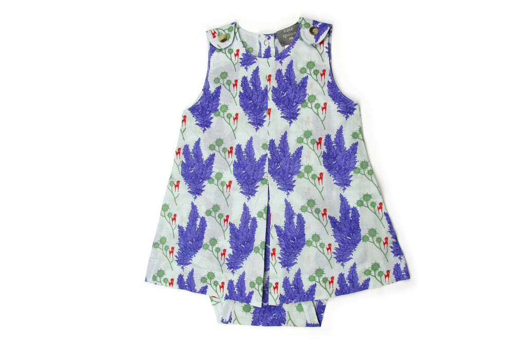 "KATE QUINN Baby Button-Dress Onesie - ""Unicorn"""
