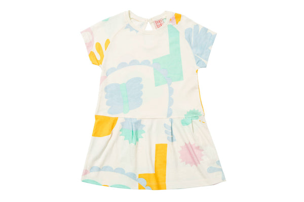 "BAOBAB Girl Dress - ""Abstract Garden Raglan"""