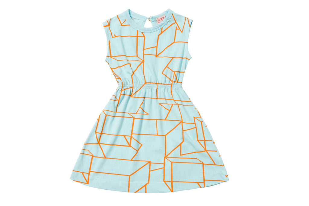 "BAOBAB Girl Dress - ""Blue Geo Modernist"""