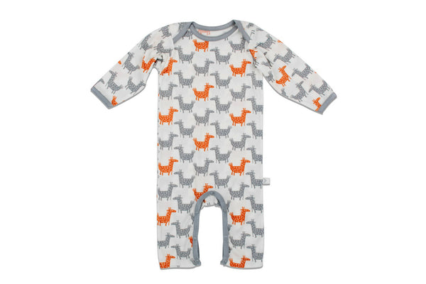 "BESTAROO Baby Coverall - ""Orange Giraffes"""