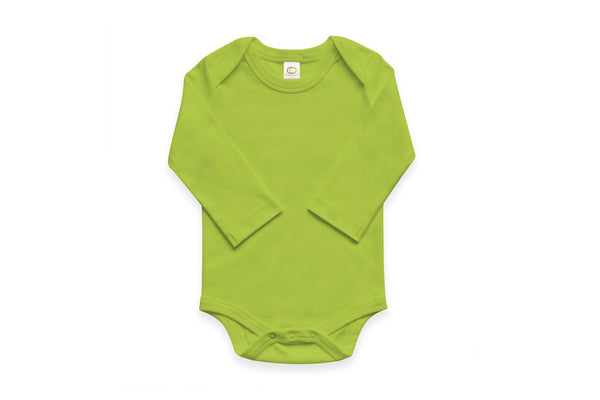 "COLORED ORGANICS Baby Long Sleeve Onesie - ""Kiwi"""