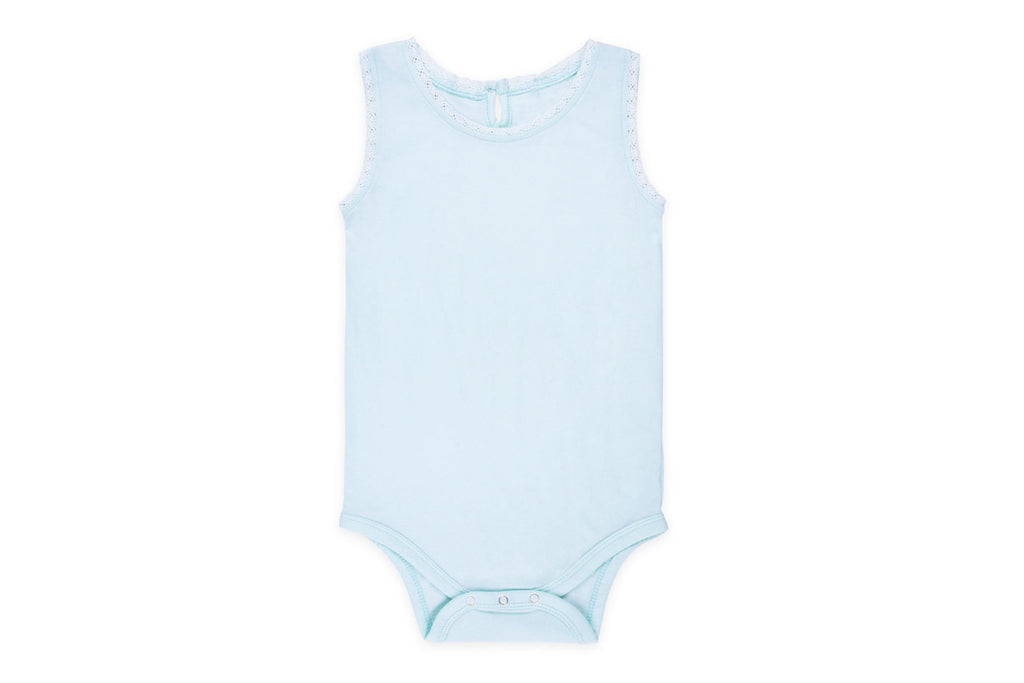 "COLORED ORGANICS Baby Lace Tank Onesie - ""Light Teal"""