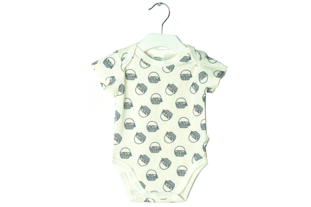 "BROKEN TRICYCLE Baby Short Sleeve Onesie - ""Navy Baskets of Apples"""