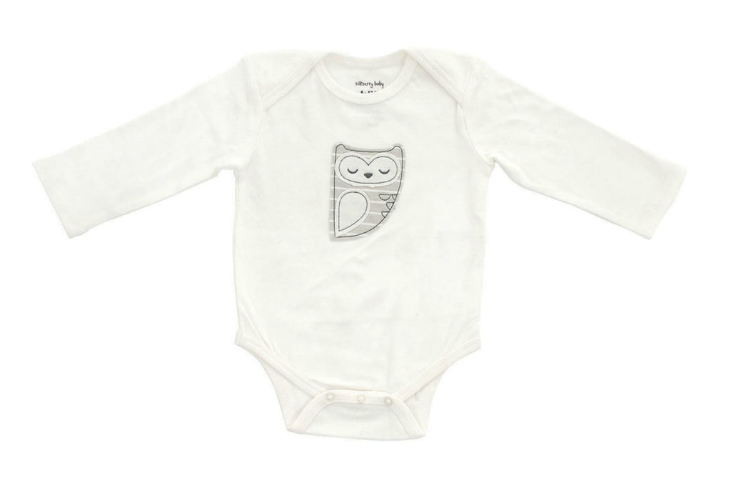 "SILKBERRY Baby Long Sleeve Onesie - ""Snowy Owl"""