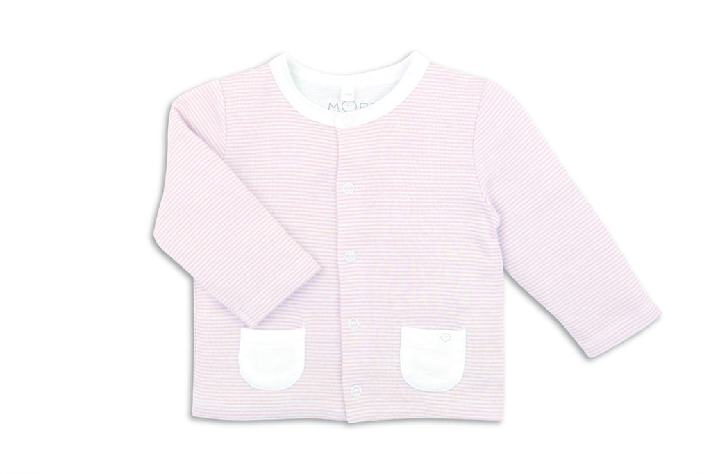 "MORI Baby Cardigan - ""Blush Stripe"""