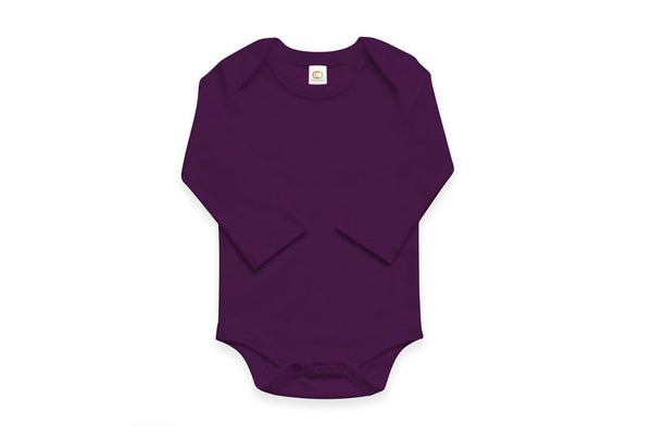"COLORED ORGANICS Baby Long Sleeve Onesie - ""Plum"""