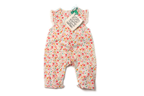 "LITTLE GREEN RADICALS Baby Frill Romper - ""Secret Seahorse"""