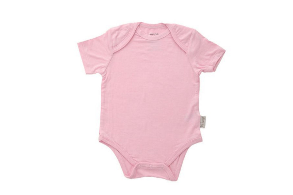 "SILKBERRY Baby Short Sleeve Onesie - ""Whisper Pink"""