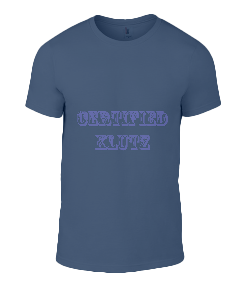 Round Neck T-Shirt - Certified Klutz - Lokshen Pudding UK - Navy