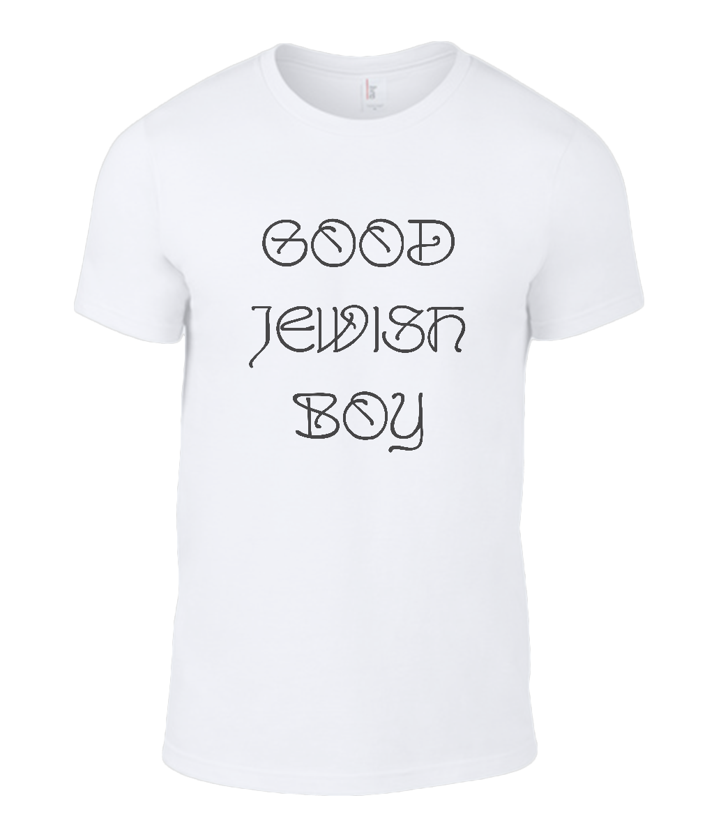 Round Neck T-Shirt - Good Jewish Boy - Lokshen Pudding UK - White