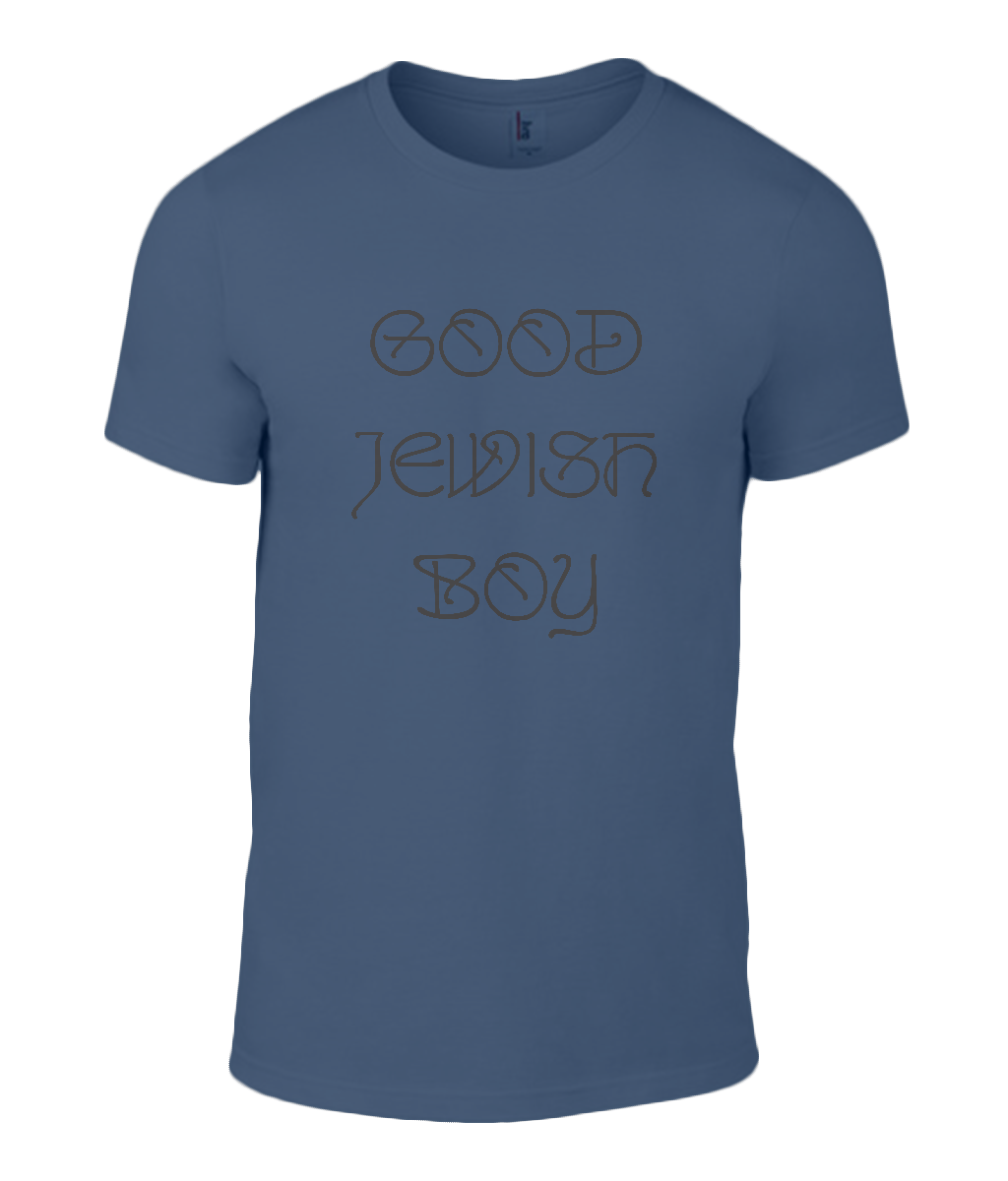 Round Neck T-Shirt - Good Jewish Boy - Lokshen Pudding UK - Blue