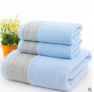 3 Towels Set w/ Geometric Shapes Embroider