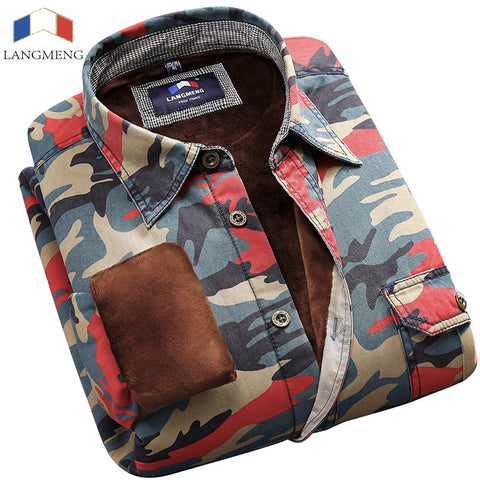 Langmeng Casual Long Sleeve Men Camouflage Shirt
