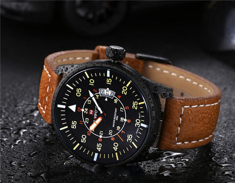 NAVIFORCE Men Luxury Leather Strap Watch