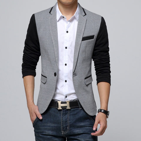 Slim Fit Men Single Button Jacket