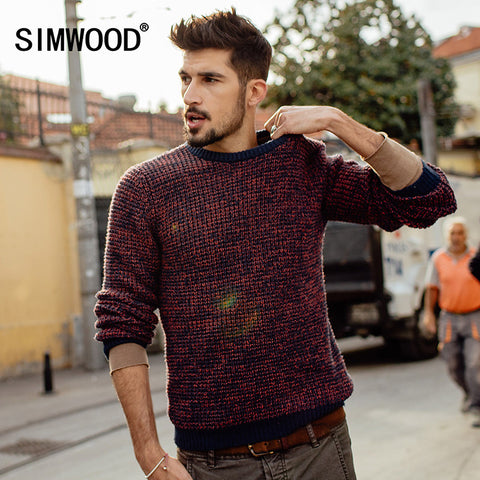Simwood Men Round Neck Wool Pullover