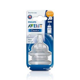 Philips Avent Classic Teat 2 Holes Slow Flow - 1month+ (2Pc. Pack)