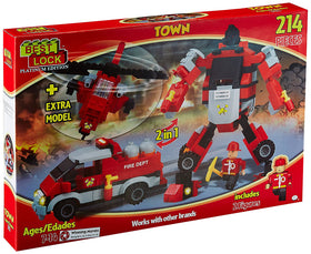 214 Piece Fire Robot 2-in-1 Block Set, Multi Color