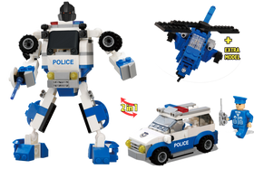 214 Piece Police Robot 2-in-1 Block Set, Multi Color